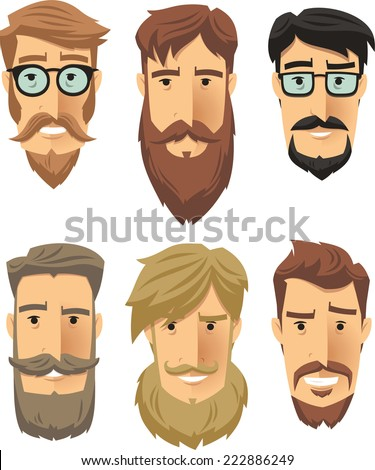 Hipster men wearing cool beard styles. Vector illustration cartoon.