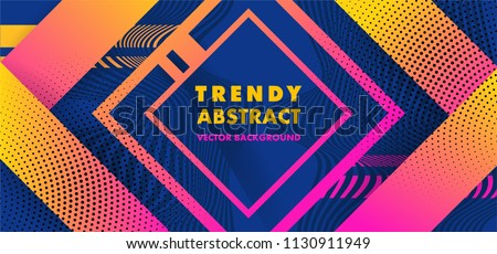 Hipster modern geometric abstract background. Bright blue banner with a trend gradient stripes, textured background. Business template for a bright color. Illusion stripes background.