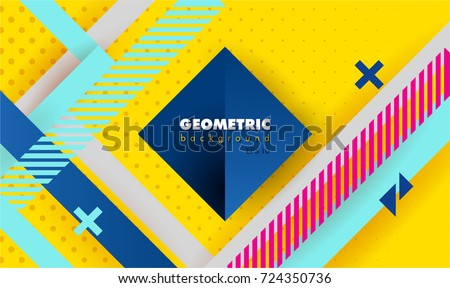 Hipster modern geometric abstract background. Bright yellow banner with blue stripes stripes, textured background. Business template for a bright color. Realistic stripes background.