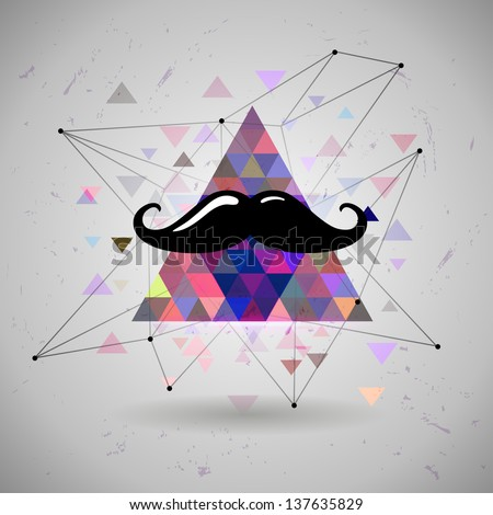 hipster Mustaches Space triangle mystic galaxy astral triangle