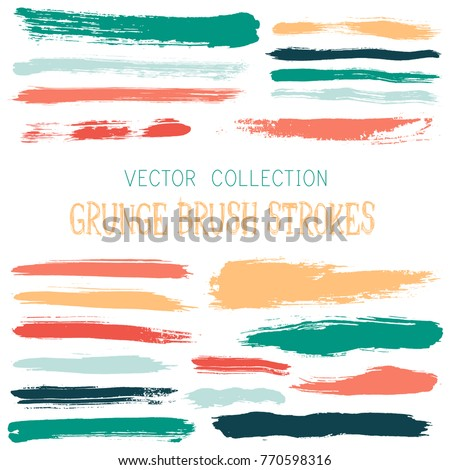 Hipster paint brush strokes vector band, color scheme vintage elements graphic design set. Marker pen traces, highliter hand drawn lines, ink or watercolor paint splashes, green red vintage lines.