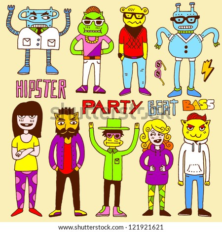 Hipster party doodle set. Vector illustration.