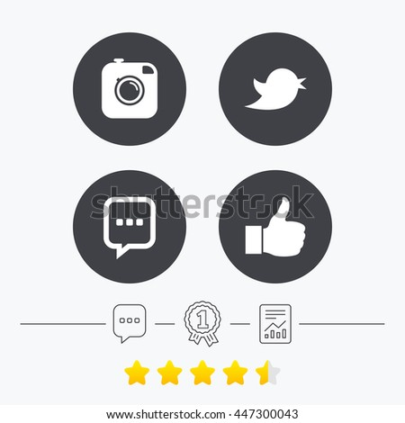 Hipster photo camera icon. Chat speech bubble sign. Hand thumb up. Bird symbol. Chat, award medal and report linear icons. Star vote ranking. Vector #447300043