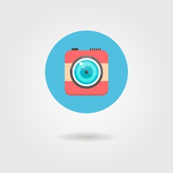 hipster photo camera icon in the circle with shadow. concept of photography or instagram app. flat design modern vector illustration