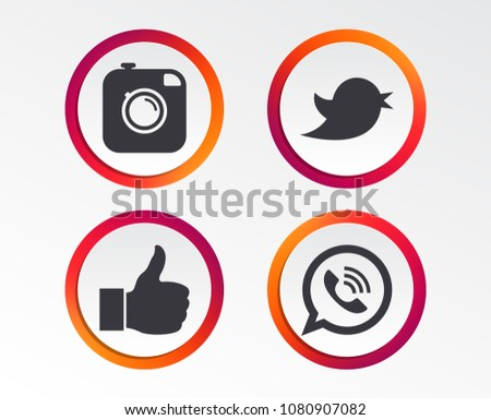 Hipster photo camera icon. Like and Call speech bubble sign. Bird symbol. Social media icons. Infographic design buttons. Circle templates. Vector #1080907082