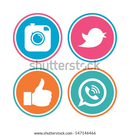 Hipster photo camera icon. Like and Call speech bubble sign. Bird symbol. Social media icons. Colored circle buttons. Vector #547146466