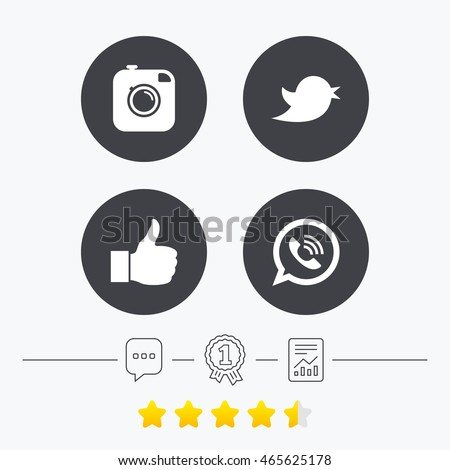 Hipster photo camera icon. Like and Call speech bubble sign. Bird symbol. Social media icons. Chat, award medal and report linear icons. Star vote ranking. Vector #465625178