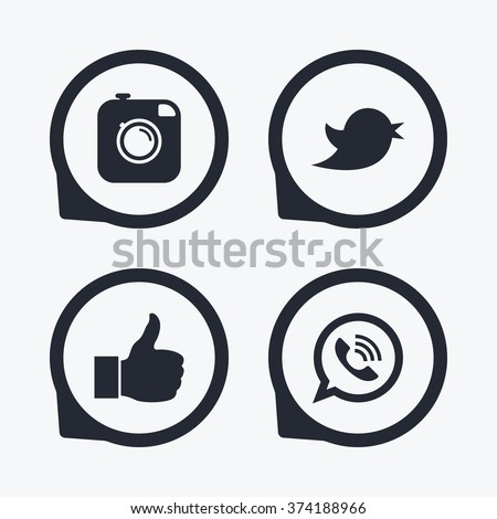 Hipster photo camera icon. Like and Call speech bubble sign. Bird symbol. Social media icons. Flat icon pointers.