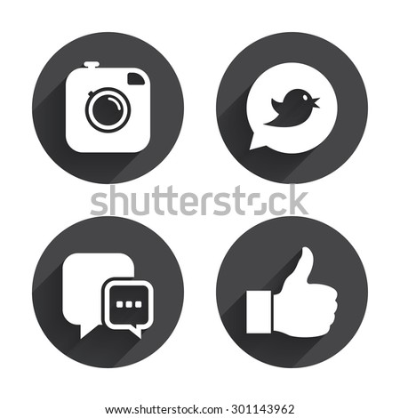 Hipster photo camera icon. Like and Chat speech bubble sign. Bird symbol. Circles buttons with long flat shadow. Vector #301143962