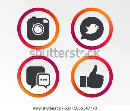 Hipster photo camera icon. Like and Chat speech bubble sign. Bird symbol. Infographic design buttons. Circle templates. Vector #1055347778