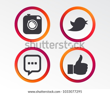 Hipster photo camera icon. Like and Chat speech bubble sign. Hand thumb up. Bird symbol. Infographic design buttons. Circle templates. Vector #1033077295