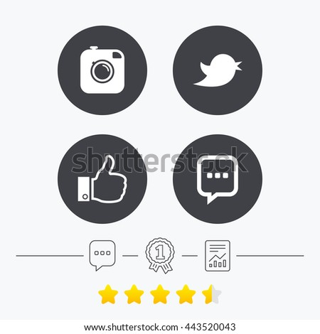 Hipster photo camera icon. Like and Chat speech bubble sign. Hand thumb up. Bird symbol. Chat, award medal and report linear icons. Star vote ranking. Vector #443520043
