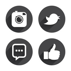 Hipster photo camera icon. Like and Chat speech bubble sign. Hand thumb up. Bird symbol. Circles buttons with long flat shadow. Vector