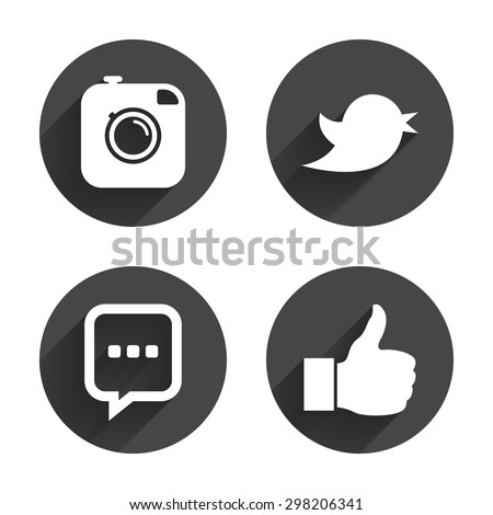 Hipster photo camera icon. Like and Chat speech bubble sign. Hand thumb up. Bird symbol. Circles buttons with long flat shadow. Vector #298206341
