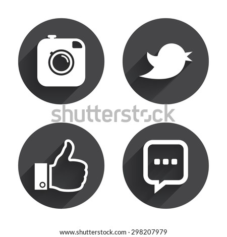 Hipster photo camera icon. Like and Chat speech bubble sign. Hand thumb up. Bird symbol. Circles buttons with long flat shadow. Vector #298207979