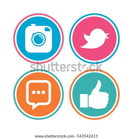 Hipster photo camera icon. Like and Chat speech bubble sign. Hand thumb up. Bird symbol. Colored circle buttons. Vector #543542611