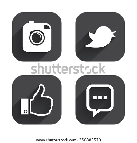 Hipster photo camera icon. Like and Chat speech bubble sign. Hand thumb up. Bird symbol. Square flat buttons with long shadow. #350885570