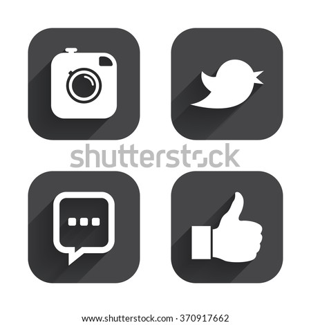 Hipster photo camera icon. Like and Chat speech bubble sign. Hand thumb up. Bird symbol. Square flat buttons with long shadow. #370917662