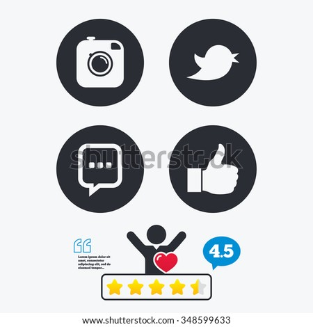 Hipster photo camera icon. Like and Chat speech bubble sign. Hand thumb up. Bird symbol. Star vote ranking. Client like and think bubble. Quotes with message. #348599633