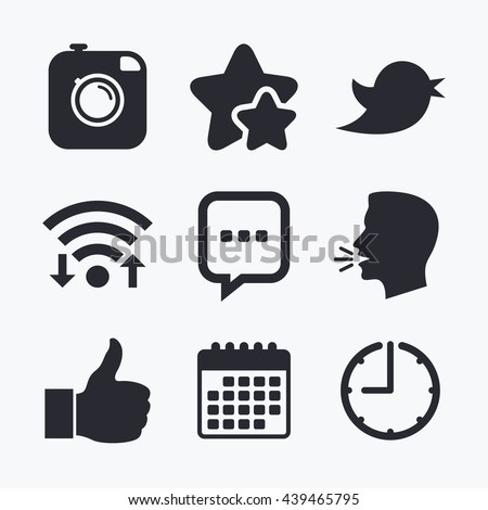 Hipster photo camera icon. Like and Chat speech bubble sign. Hand thumb up. Bird symbol. Wifi internet, favorite stars, calendar and clock. Talking head. Vector