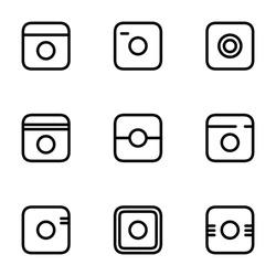 Hipster Photo Icons Set. Camera Icons. Photo Camera Pictogram. Social Media Icon. Aka Instagram Icons. Aka Instagram Sign. Aka Abstract Instagram Icon. Vector Illustration.