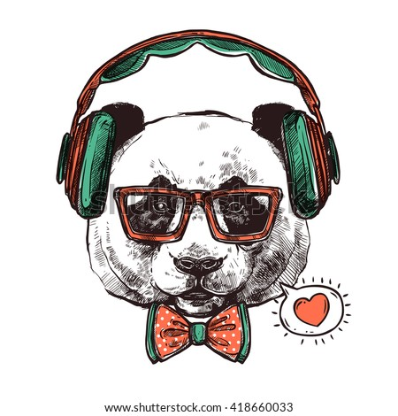 hipster portrait panda with