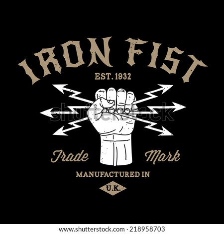 hipster protest label iron fist