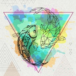 Hipster realistic and polygonal koi fish illustration on artisticwatercolor background. Pisces zodiac sign