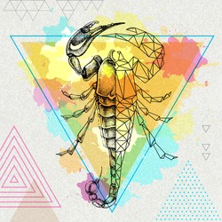 Hipster realistic and polygonal scorpion illustration on artistic watercolor background. Scorpio zodiac sign