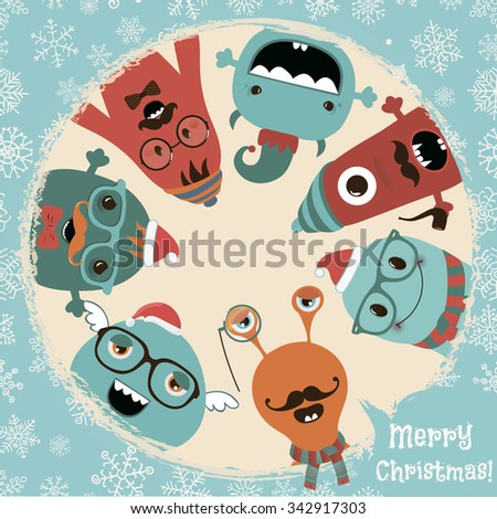 hipster retro freaky monsters card illustration banner background new year cartoon characters