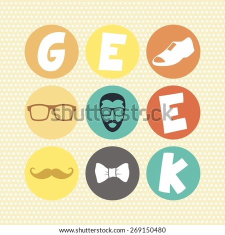 hipster retro geek icon art