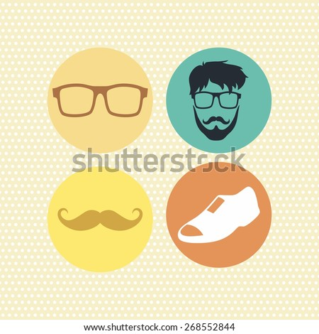 hipster retro icon art