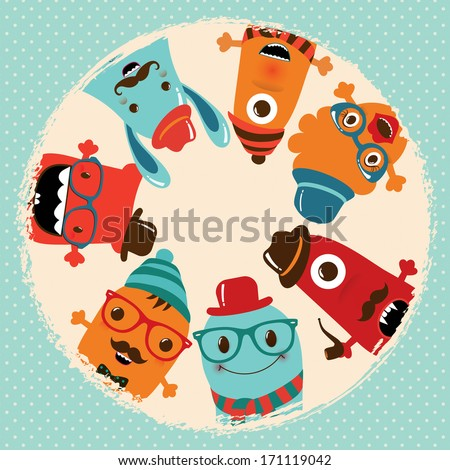 Hipster Retro Monsters Card Illustration Banner Background