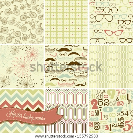 Hipster retro seamless backgrounds mustaches spectacles numbers bicycles