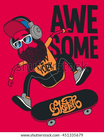 hipster  skater vector design
