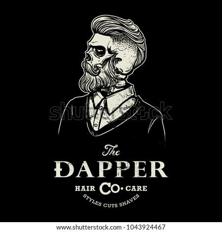 Hipster skull barber shop logo in black and white
