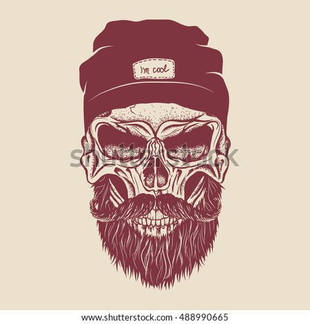 hipster skull dressed in cap