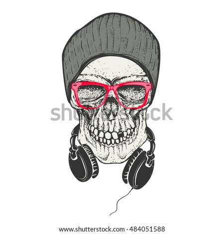 hipster skull in hat and