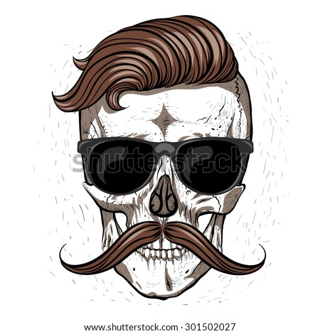 hipster skull with mustache and