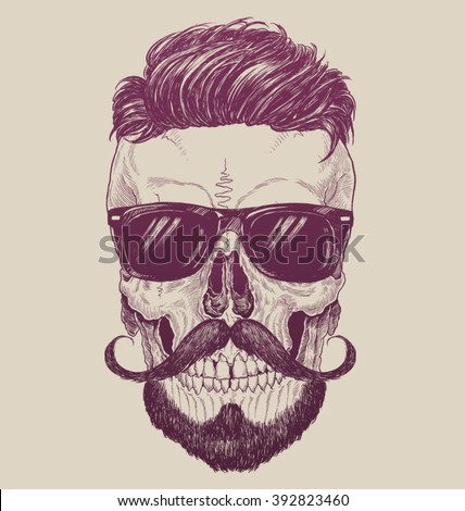 hipster skull with sunglasses