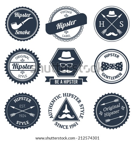Hipster smoke original authentic style labels set isolated vector illustration