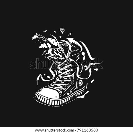 Hipster sneakers in hand drawn graphic, Vector fashion illustration.