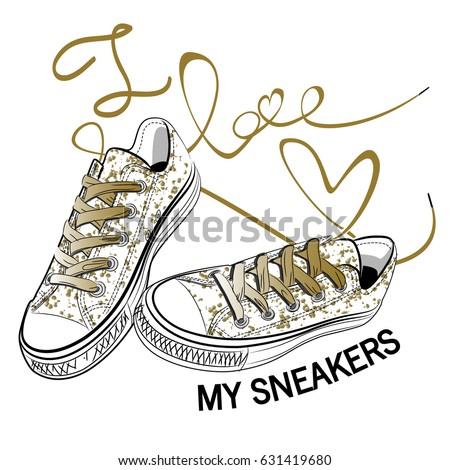 hipster sneakers isolated on