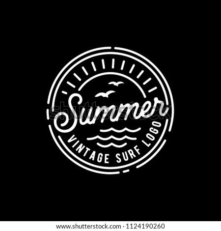 Hipster Stamp with Line Art style for Surf Logo design inspiration