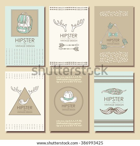 Hipster style backgrounds and hipster elements and labels. hand drawn