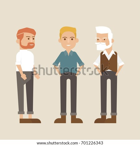 Hipster style bearded man, character set-vector illustration