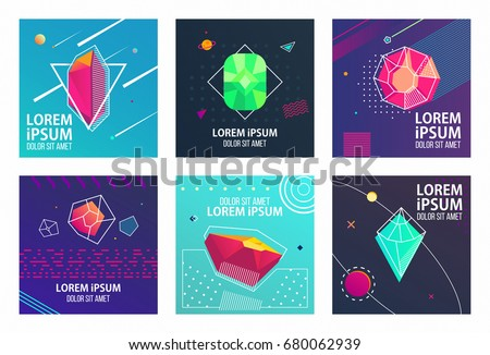 Hipster style cards Design Collection of Colorful templates with geometric shapes, patterns with trendy Memphis fashion 80s-90s. Perfect for ad, invitation, presentation Isolated Vector illustration