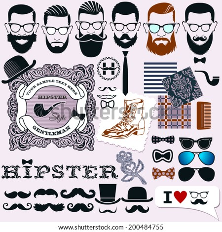 36fc2afda Hipster style design, artistic isolated elements: hipsters faces,  hairstyles and beards templates and