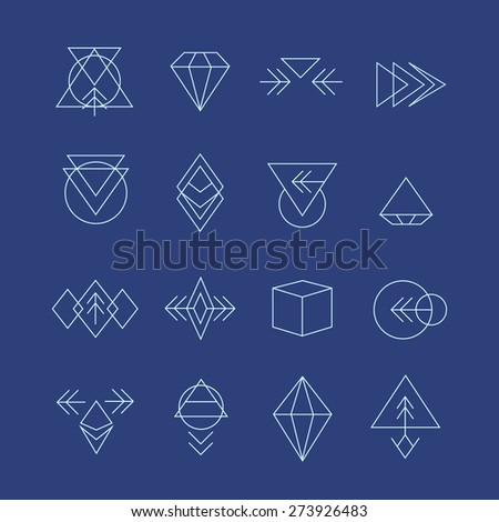 Hipster style icons, labels for logo design. Abstract geometric pattern shapes template