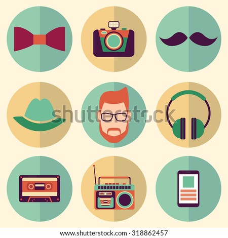 Hipster style icons set. Flat style modern design  vector illustration